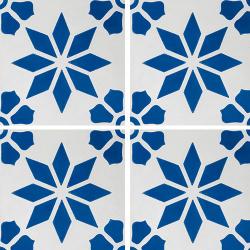 Carreau de ciment décor étoile fleur bleue 20x20 cm ref7190-2 - 0.48m²