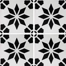 Carreau de ciment décor étoile fleur noire 20x20 cm ref7190-3 - 0.48m²