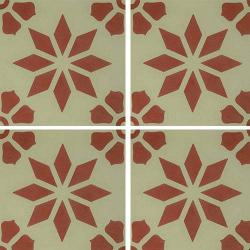 Carreau de ciment décor étoile fleur rouge 20x20 cm ref7190-4 - 0.48m²