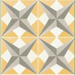 Carreau de ciment étoile jaune géométrique 20x20 cm ref7210-1 - 0.48m²