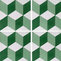 Carreau de ciment CUBE vert, blanc géométrique 20x20 cm ref7290-1 - 0.48m²
