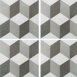 Carreau de ciment CUBE gris et blanc géométrique 20x20 cm ref7290-2 - 0.48m²