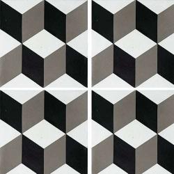 Carreau de ciment CUBE noir et blanc géométrique 20x20 cm ref7290-3 - 0.48m²