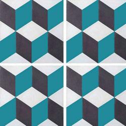 Carreau de ciment CUBE noir, bleu canard, blanc géométrique 20x20 cm ref7290-4 - 0.48m²