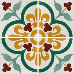 Carreau de ciment lys et fleurs 20x20 cm ref7310-1 - 0.48m²