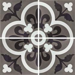 Carreau de ciment véritable motif floral noir et blanc 20x20 cm ref7310-5 - 0.48m²