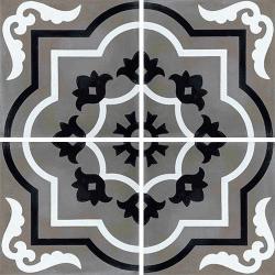 Carreau de ciment véritable motif floral stylisé black and white 20x20 cm ref7330-3 - 0.48m²
