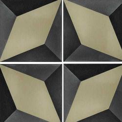 Carreau de ciment décor étoile noire et kaki 20x20 cm ref7390-1 - 0.48m²