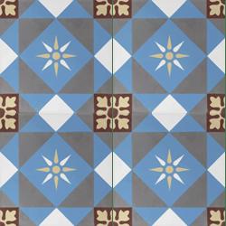 Carreau de ciment décor étoile multicolor 20x20 cm ref7600-1 - 0.48m²