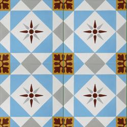 Carreau de ciment décor étoile multicolor 20x20 cm ref7600-2 - 0.48m²