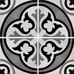 Carreau de ciment véritable motif floral noir et blanc 20x20 cm ref7640-3 - 0.48m²