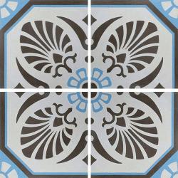 Carreau de ciment décoré gris bleu 20x20 cm ref7690-2 - 0.48m²
