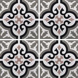 Carreau de ciment motif ancien floral noir et rose 20x20 cm ref7900-13 - 0.48m²