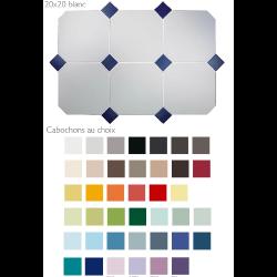 Carrelage 20x20 blanc octogone avec cabochons CERAME MAT - 1.5m² ASDC