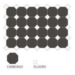 Carrelage 10x10 mat octogone noir Carbonio à cabochons - 1m²