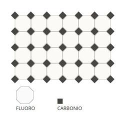 Carrelage 10x10 mat octogone blanc Fluoro avec cabochons - 1m² ASDC