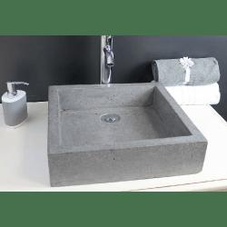 Vasque à poser en Terrazzo granité 40x40 Gris ciment TIMBRE