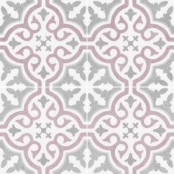 Carrelage imitation ciment rosace lie de vin OLD SCHOOL BRIANA ROSE 45x45 cm - 1.42m² Dualgres