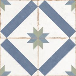 Carrelage style ciment étoile blanc et bleu OLD SCHOOL MARAU R10 45x45 cm - 1.42m²