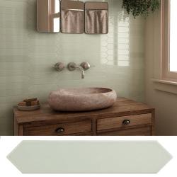 Faience navette crayon vert pastel brillant 5x25 cm ARROW GREEN HALITE 25826 - 0.50 m²