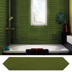 Faience navette crayon vert foncé brillant 5x25 cm ARROW GREEN KELP 25827 - 0.50 m²