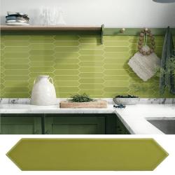 Faience navette crayon vert pomme brillant 5x25 cm ARROW APPLE 25828 - 0.50 m²