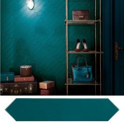 Faience navette crayon bleu brillant 5x25 cm ARROW BLUE CANARD 25829 - 0.50 m²