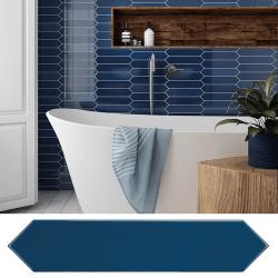 Faience navette crayon bleu nuit brillant 5x25 cm ARROW ADRIATIC BLUE 25834 - 0.50 m²