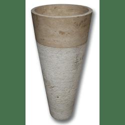 Vasque Colonne Conique Striée Travertin beige diam 42x85 cm
