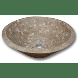 Vasque pierre Conique Mosaïque Travertin Noce 42x15 cm