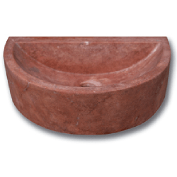 Demi vasque pierre travertin rouge 42x26x12 cm