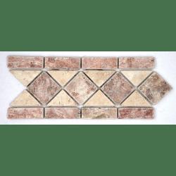 Frise pierre travertin Rouge / travertin Beige 508 28.5x10.5 cm - unité