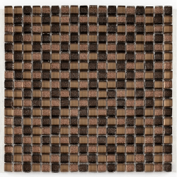 Mosaique Glasmosaik brun brillant 1.5x1.5 cm - 30x30 - unité Barwolf