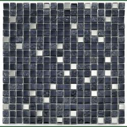 Mosaique salle de bain Glas metall noir 1.5x1.5 cm - 30x30 - unité