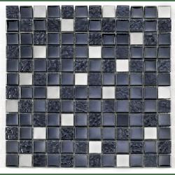 Mosaique noire Glas metall noir 2.3x2.3 cm - 30x30 - unité