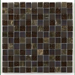 Mosaique verre marron salle bain Glas naturstein brun 2.3x2.3 - 30x30 cm - unité