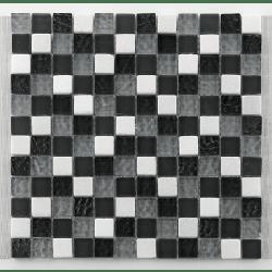 Mosaique gris noir blanc Glasnaturstein tuscany silver grey 2.3x2.3 cm - 30x30 - unité