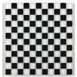 Mosaique salle bain Glasnaturstein noir et blanc 2.3x2.3 cm - 30x30 - unité