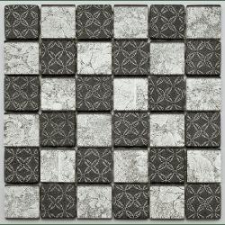 Mosaique Glasmosaik argent et noir 4.8x4.8 cm - 30x30 - unité Barwolf