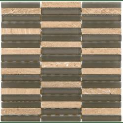 Mosaique salle de bain marron Glasnaturstein aspen brown 1.5x9.8 cm - 30x30 - unité Barwolf