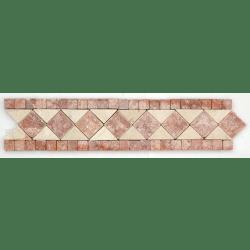 Frise pierre Travertin Rouge / Travertin Beige GM105 33.3x7 cm - unité