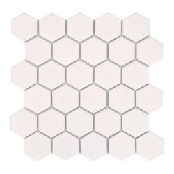 Mini tomette hexagonale blanche mat en grès cérame 27x28 cm HEXAGONO BLANCO - unité