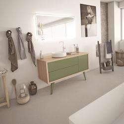 Meuble salle de bain rétro scandinave 130 cm ISEO