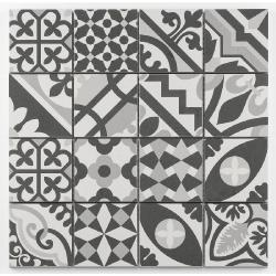 Mosaique grès cérame patchwork blanc white mosaïque 31.8x31.8cm KEG-14072 - unité