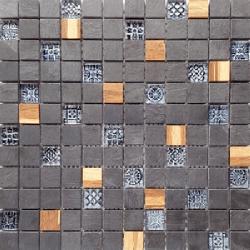 Malla Bamboo Negro - Mosaique bois marbre et verre 30x30cm - unité