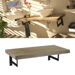 Meuble plateau bois de salle de bain épuré 90 cm MANYARA