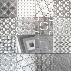 Carrelage imitation ciment style ancien 22.5x22.5 cm MARRAKECH MIX