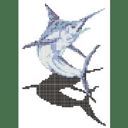 Décor mosaique piscine espadon marlin bleu 150x233 cm - unité
