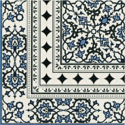 Carrelage azulejos fleurs bleues ORLY DECO ESQUINA (angle) 44x44 cm - unité