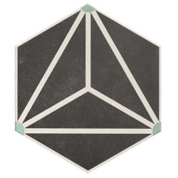 Carrelage tomette géométrique33x28.5 OSAKA CHARCOAL - 1m²